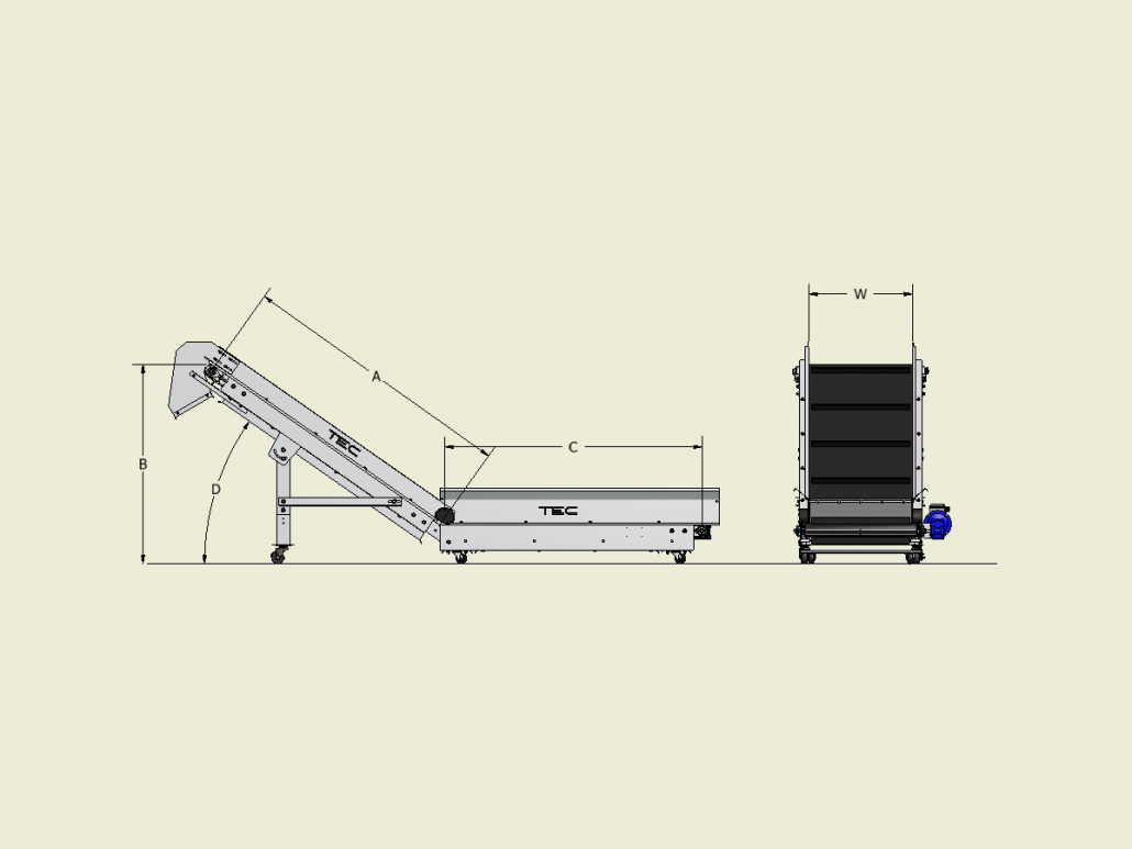 Classic Series - Horizontal-to-Incline Conveyor Dimensions