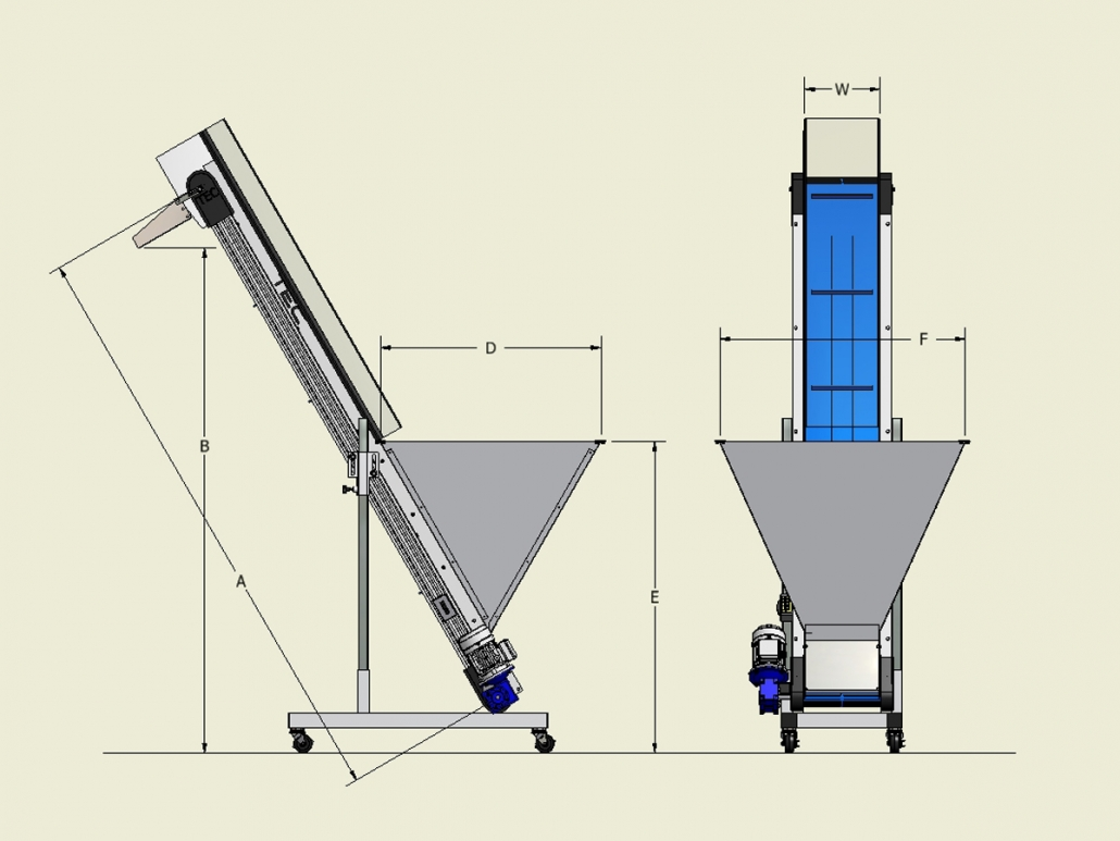 Ultraline Series - Hopper Conveyor Dimensions