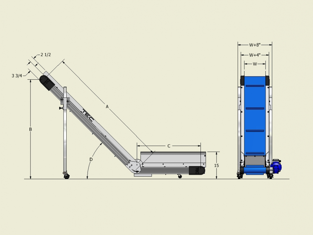Ultraline Series - Horizontal to Incline Conveyor Dimensions