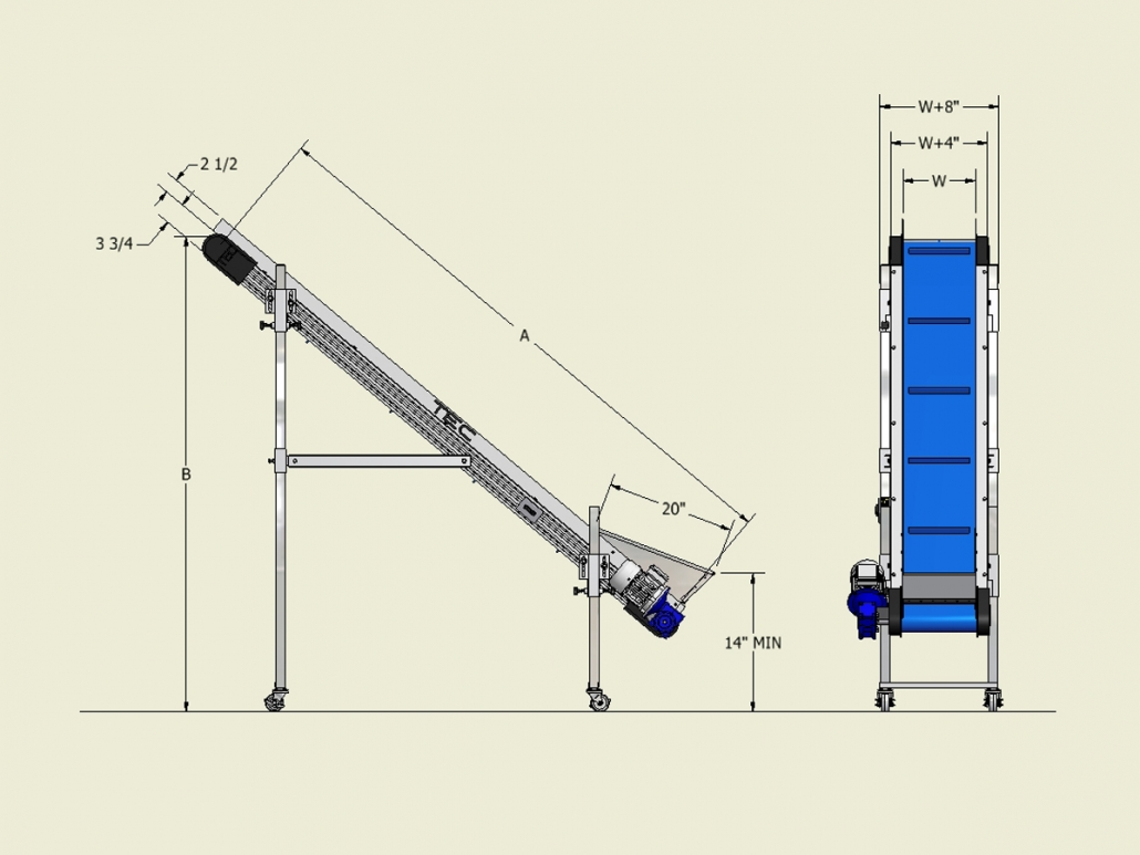 Ultraline Series - Incline Conveyor Dimensions